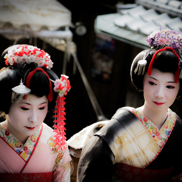 """Two Geishas out walking in Kyoto, Japan - 1"" stock image"