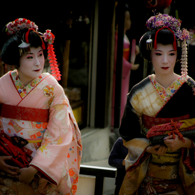 """Two Geishas out walking in Kyoto, Japan - 2"" stock image"