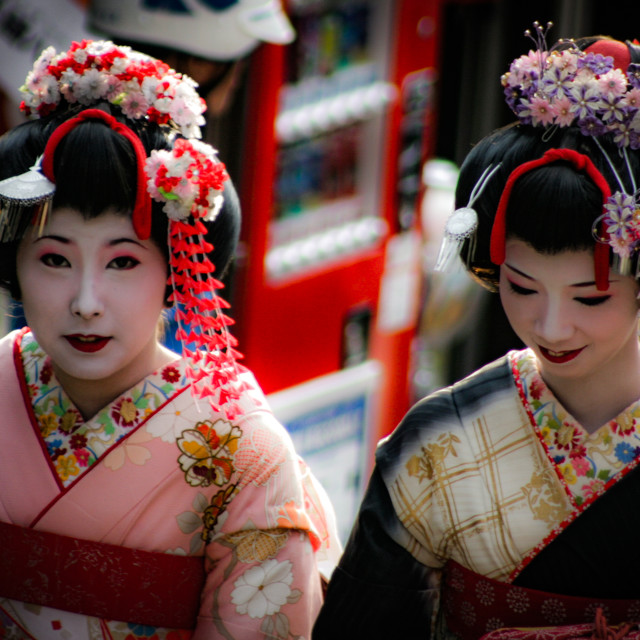 """Two Geishas out walking in Kyoto, Japan - 3"" stock image"