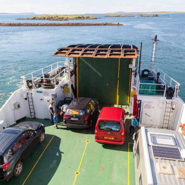 """""""'Loch Portain' CalMac Ferry from Leverburgh to Berneray"""" stock image"""