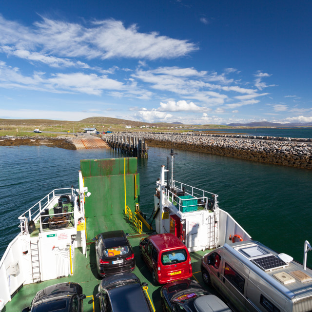 """'Loch Portain' CalMac Ferry from Leverburgh to Berneray"" stock image"