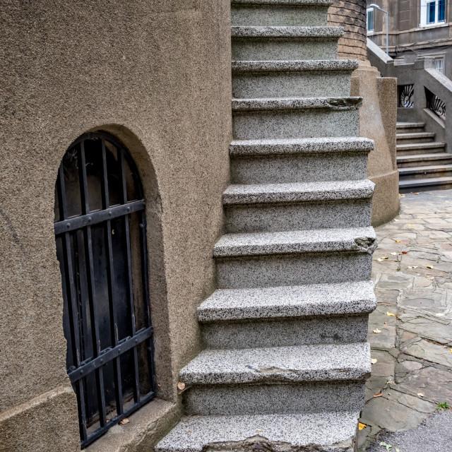 """Service stairs of Orthodox church, Sofia, Bulgaria"" stock image"
