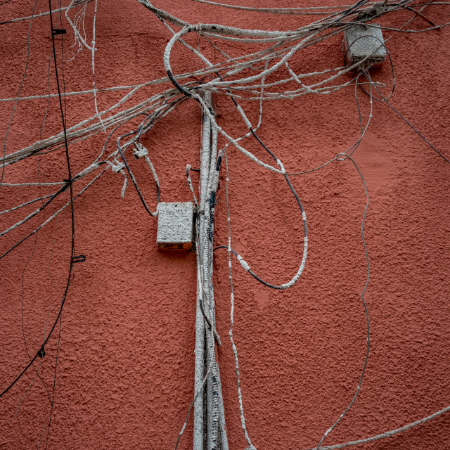 """""""Telecommunication wiring on residential facade"""" stock image"""
