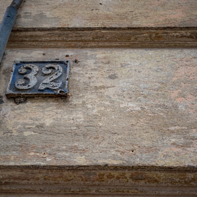 """""""Old street plate with number 32 in Bulgaria"""" stock image"""