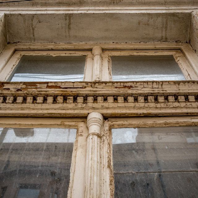 """""""Old white painted wooden window with decoration"""" stock image"""