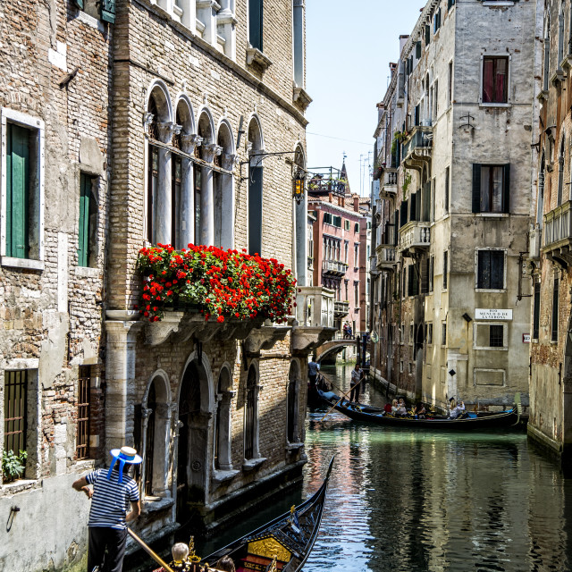 """""""Gondolas and Canals of Venice."""" stock image"""