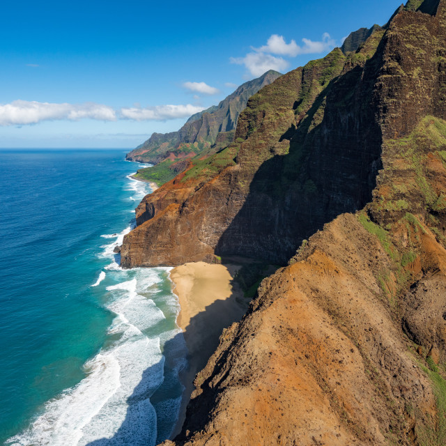 """""""Garden Island of Kauai from helicopter tour"""" stock image"""