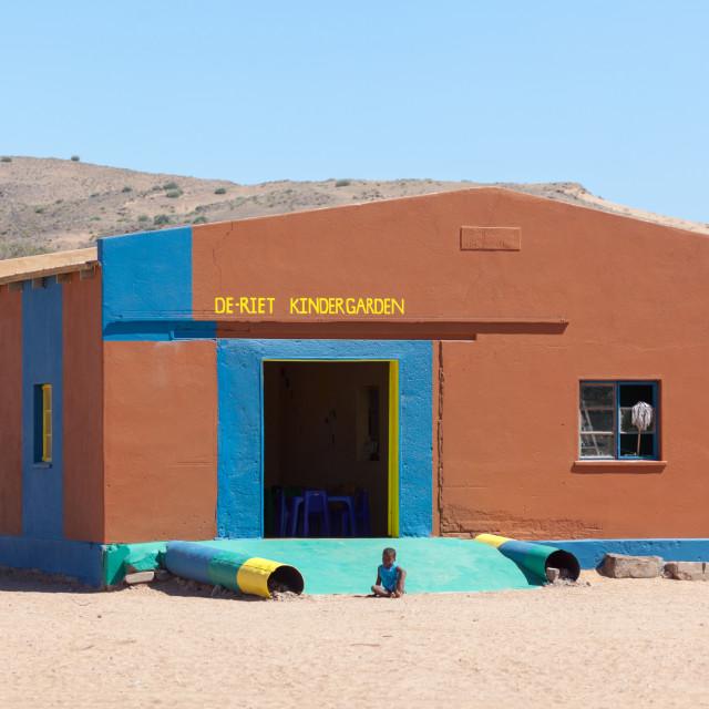 """""""De-Riet Kindergarden school, near Doro Nawas"""" stock image"""