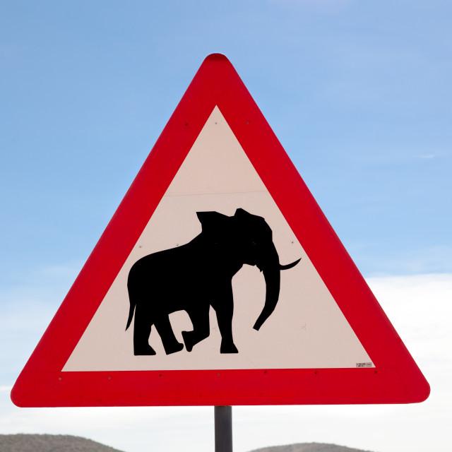 """""""Namibia Elephant warning sign."""" stock image"""