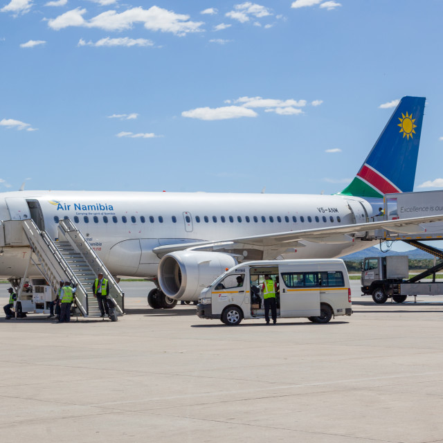 """Air Namibia Boeing 737 V5-ANM at Windhoek Hosea Kutako Internati"" stock image"