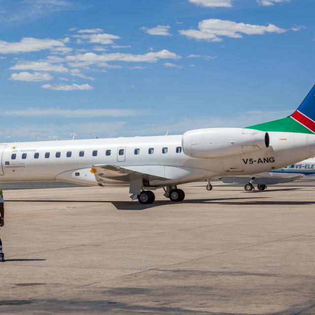 """Air Namibia Embraer ERJ 135 V5-ANG at Windhoek Hosea Kutako Inte"" stock image"