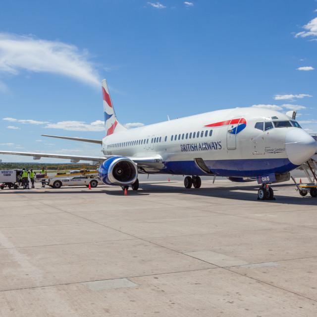"""British Airways, Comair, Boeing 737 ZS-OAG, at Windhoek Hosea Ku"" stock image"
