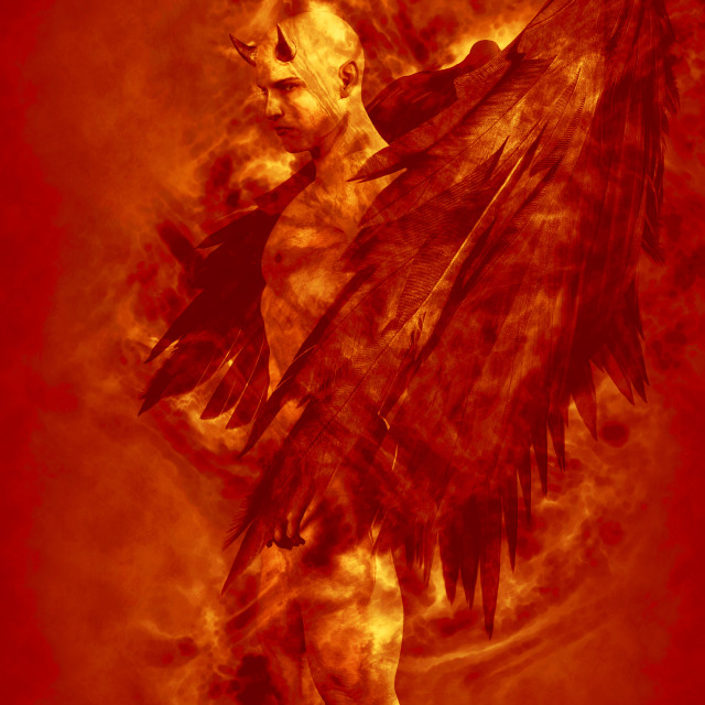"""""""Illustration of the devil character in fire"""" stock image"""