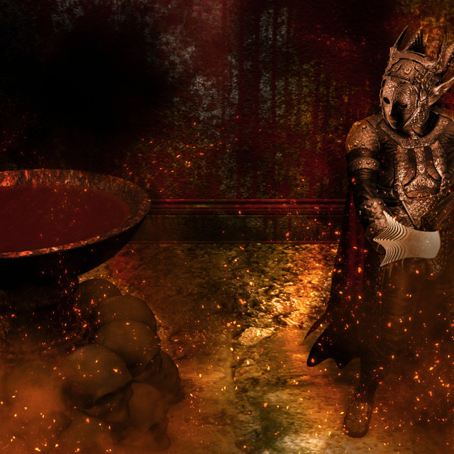"""""""3D rendering of a Warrior at Bloody background"""" stock image"""