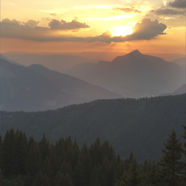 """""""Landscape of a sunset in Arâches-la-Frasse."""" stock image"""