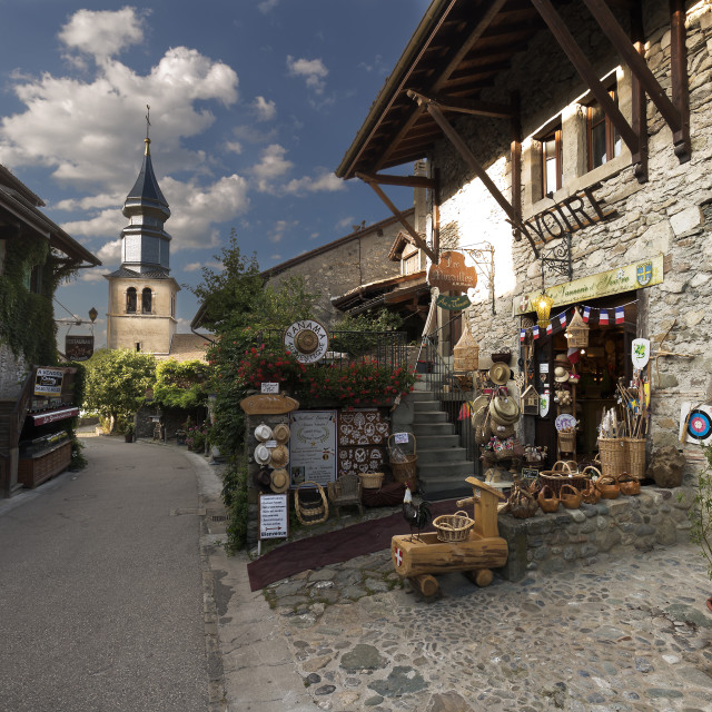 """""""Yvoire is a commune and population of France, in the Auvergne-Rhône-Alpes..."""" stock image"""