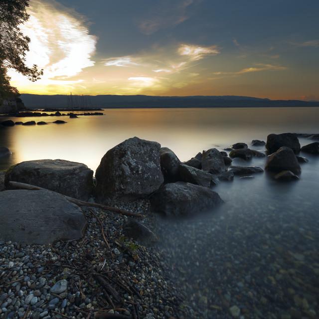 """Sunset at Lake Leman, Yvoire."" stock image"