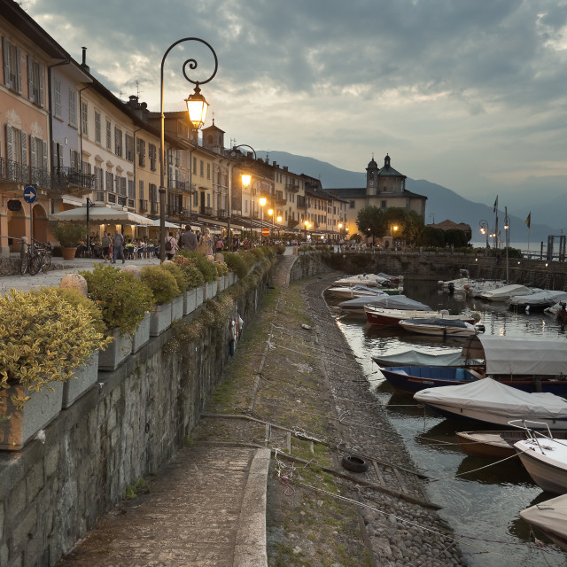"""""""Sunset in the port of Cannobio, Italy."""" stock image"""