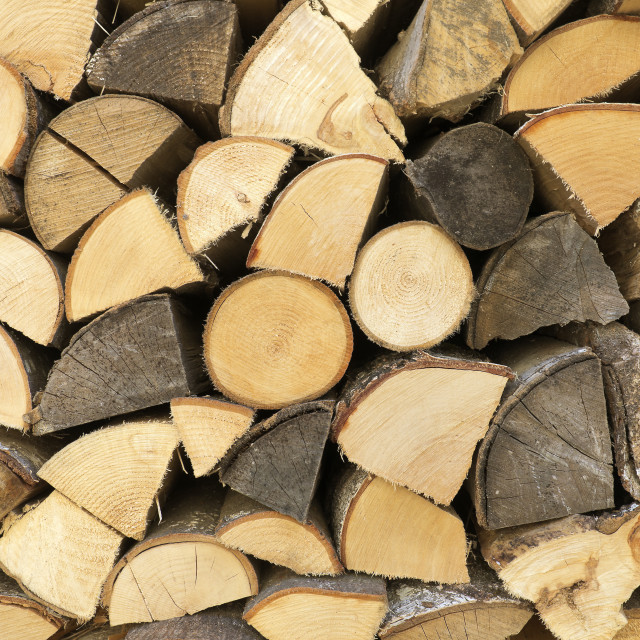 """""""Wooden logs arranged in a wood of a Swiss village."""" stock image"""