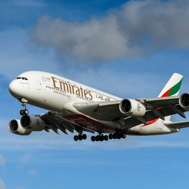 """""""Emirates Airbus A380 """"super jumbo"""" jet long haul airliner about to land"""" stock image"""