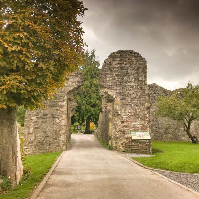 """Ruins of the gatehouse of the castle in Abergavenny."" stock image"