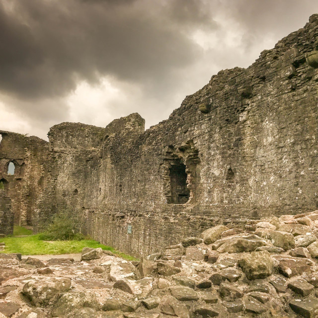 """Curtain wall of Abergavenny castle"" stock image"