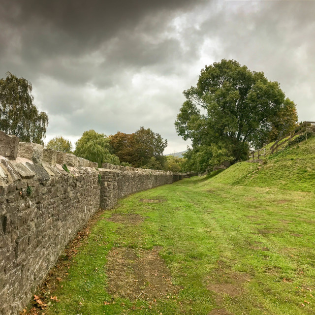 """Perimeter wall around the grounds of Abergavenny castle."" stock image"
