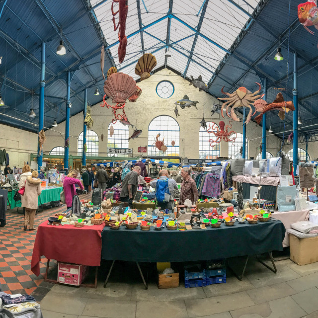 """Panoramic view of the indoor market in Abergavenny"" stock image"