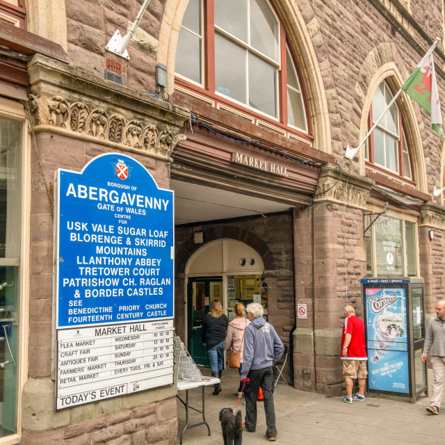 """People entering the market hall building in Abergavenny"" stock image"