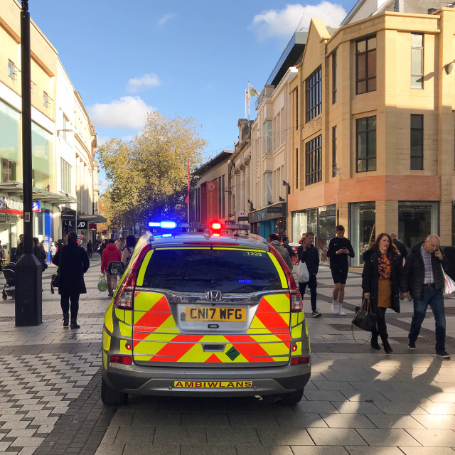"""""""Paramedic rapid response vehicle with blue lights flashing in Cardiff city centre."""" stock image"""