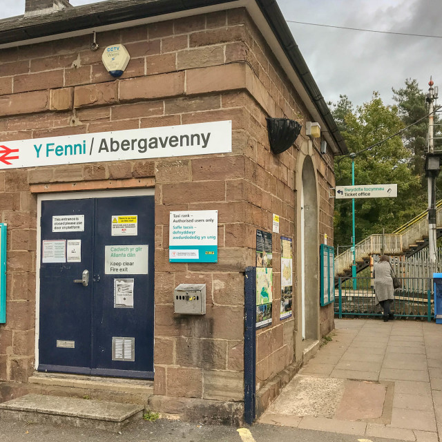 """Station building at Abergavenny railway station"" stock image"