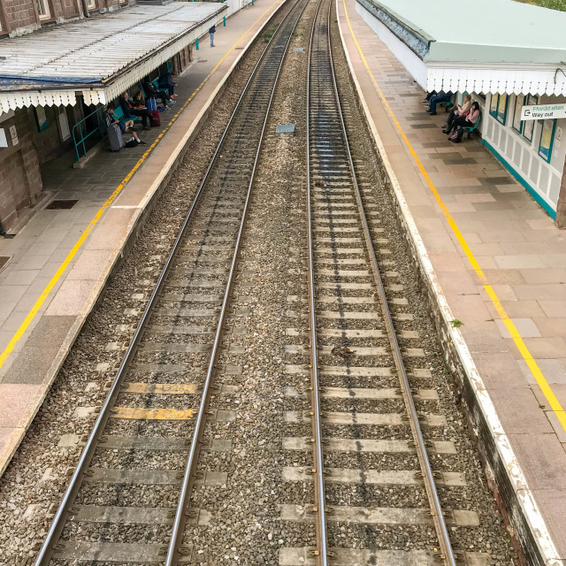 """Platforms and track in Abergavenny railway station."" stock image"