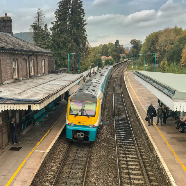 """Passenger train in Abergavenny railway station."" stock image"