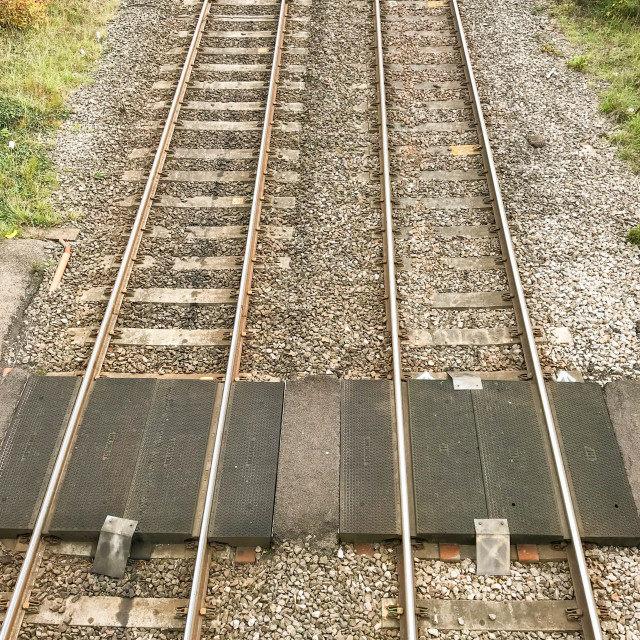 """Foot crossing on a main railway line."" stock image"