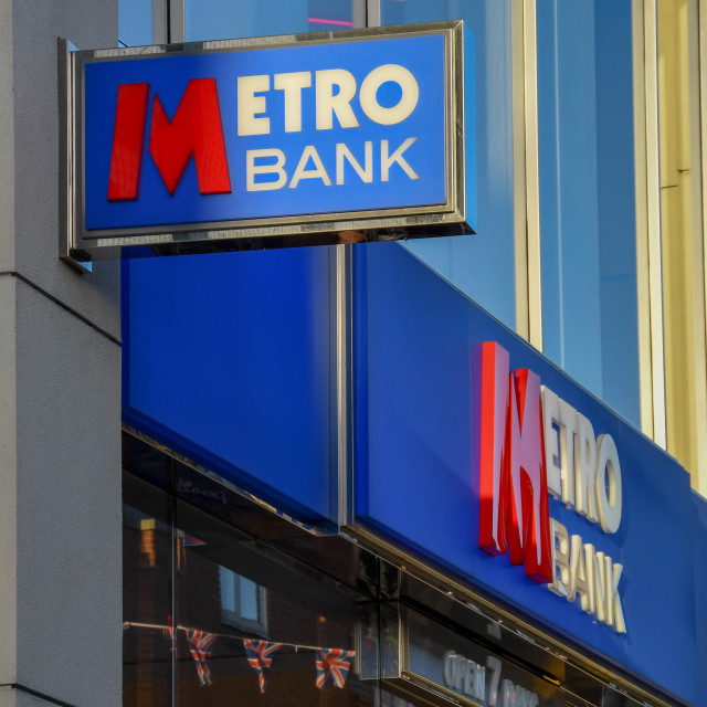 """""""Signs on the front of a branch of the Metro Bank"""" stock image"""