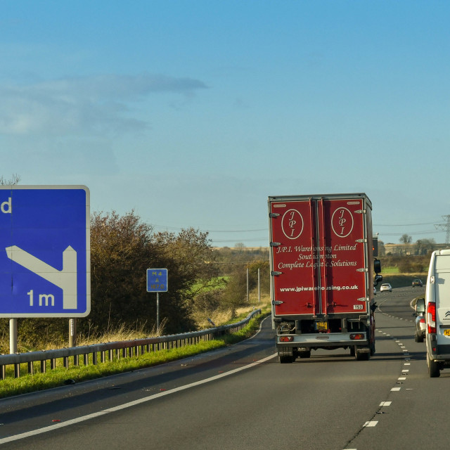 """Road sign on the M4 motorway near Bath"" stock image"