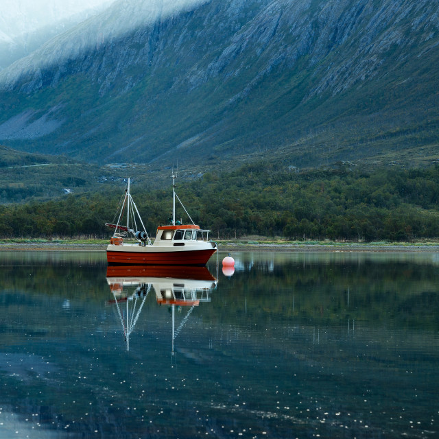 """Lonely boat in fjord"" stock image"