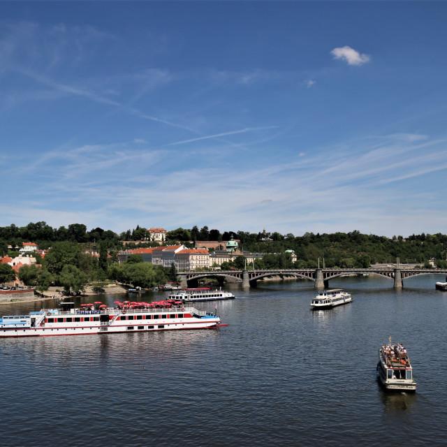 """""""Moldavia River in Prague"""" stock image"""