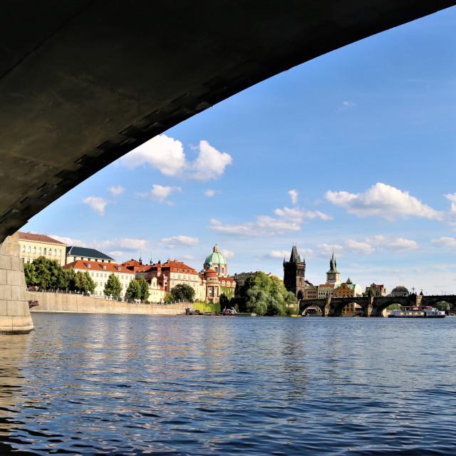 """Landscape of Prague - Bridge Charles IV, Prague."" stock image"