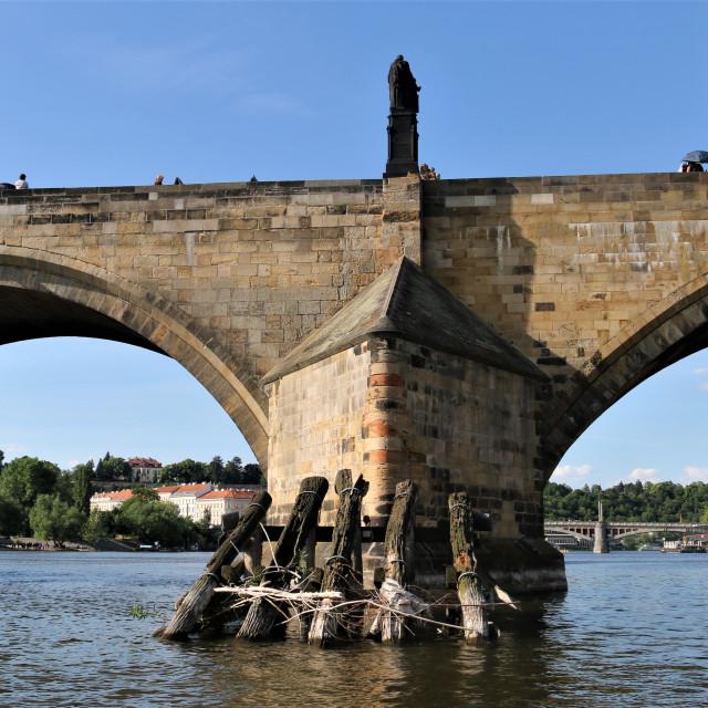 """""""Prague, Bridge Charles IV."""" stock image"""