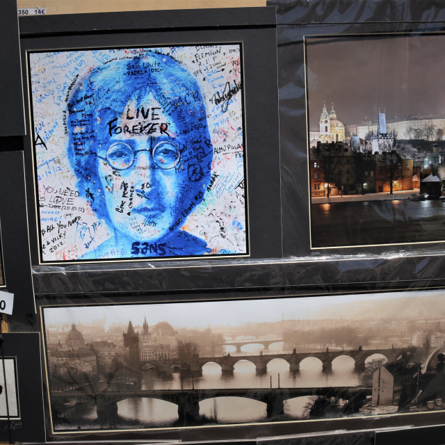 """""""Paintings and Prague postcards"""" stock image"""