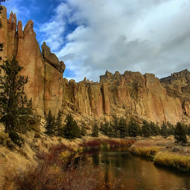 """Smith Rock from the river"" stock image"