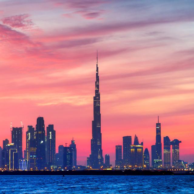 """""""Dubai, United Arab Emirates - January 10, 2019: Beautiful sunset"""" stock image"""