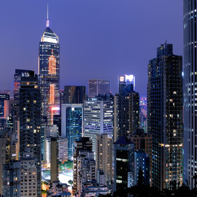 """Hong Kong at night"" stock image"