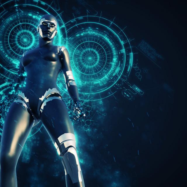"""Cyborg Woman - Humanoid at technology background"" stock image"