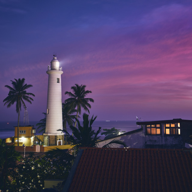 """Lighthouse at sunset"" stock image"