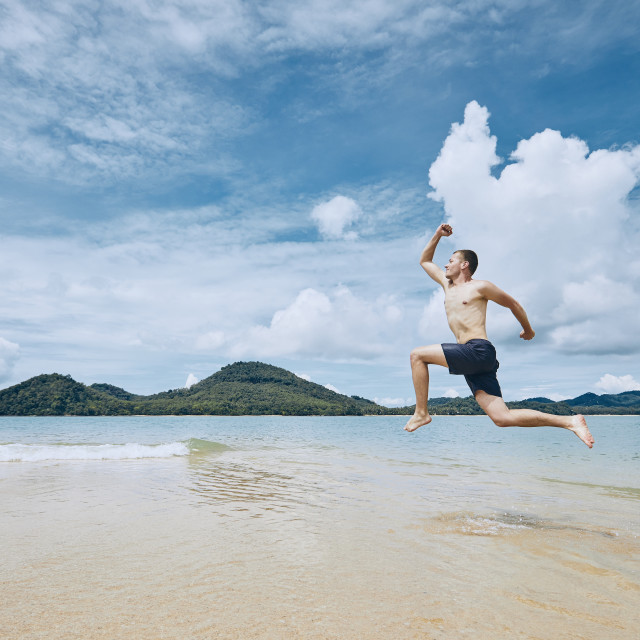 """""""Jumping to the sea"""" stock image"""