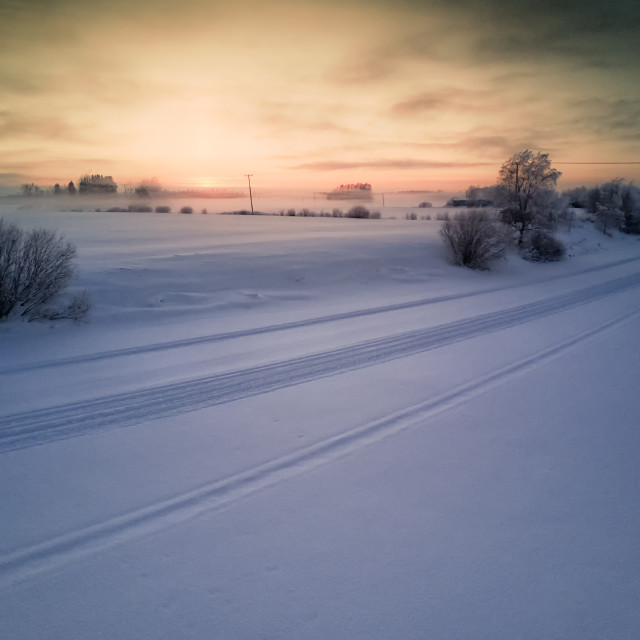 """""""Sunset Over The Snowy River"""" stock image"""