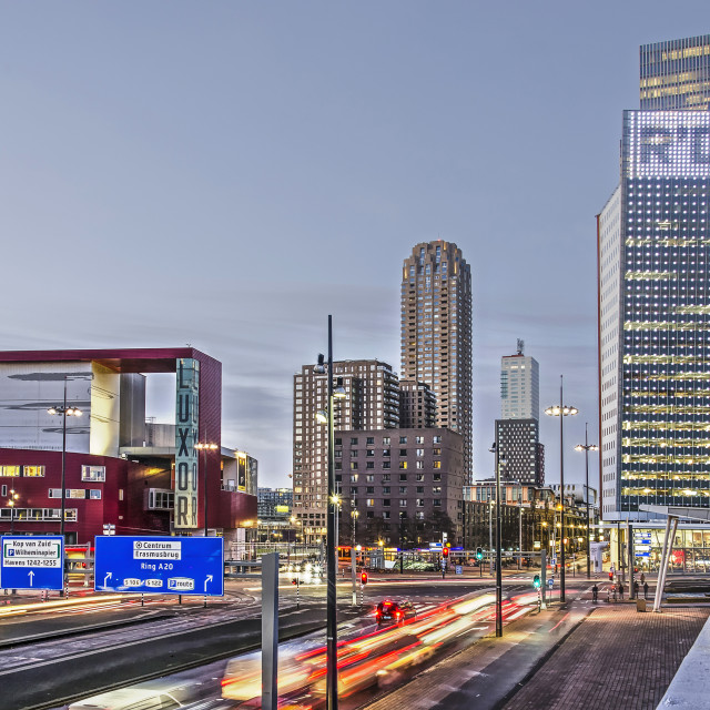 """Rotterdam southbank morning rush hour"" stock image"