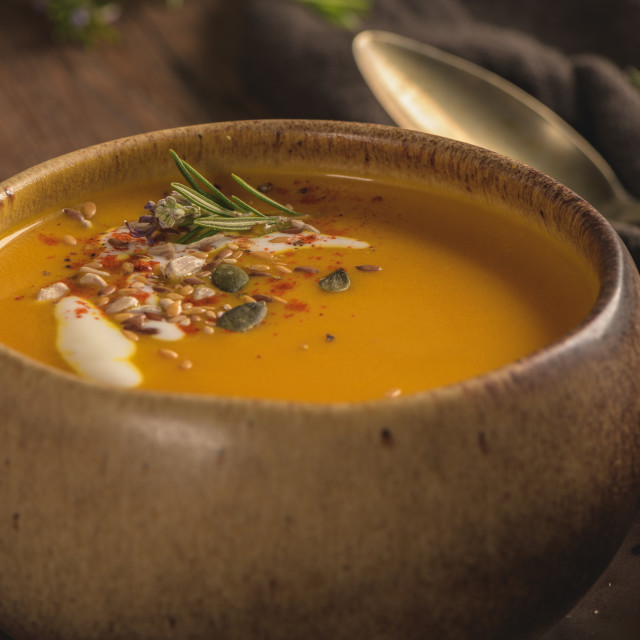 """Healthy Pumpkin soup"" stock image"